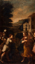 Paintings, Manner of JACOPO DA PONTE BASSANO (Italian, 1510-1592). Biblical Scene. Oil on canvas. 27-1/2 x 15-1/2 inches (69.9 x 39...