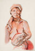 Fine Art - Work on Paper:Drawing, JOHN BIGGERS (American, 1924-2001). Untitled (Woman HoldingPot), 1969. Crayon and graphite on paper . 20-1/2 x 15-1/2 i...