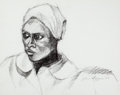Fine Art - Work on Paper:Drawing, JOHN BIGGERS (American, 1924-2001). Untitled (Head of aWoman), 1976. Conte crayon on paper. 15-1/4 x 19-1/2 inches(38....