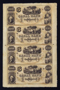 Obsoletes By State:Louisiana, New Orleans, LA- Canal Bank $100-$100-$100-$100 Uncut Sheet . ...