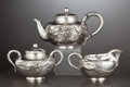 Silver & Vertu:Hollowware, A THREE-PIECE JAPANESE EXPORT SILVER TEA SET . Unidentified maker, Japan, circa 1880-1925. Marks: (shop mark). 4-3/4 x 8-1/4... (Total: 3 Items Items)