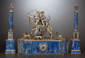 Silver Holloware, Continental:Holloware, A VIENNESE SILVER GILT, ENAMEL AND LAPIS LAZULI FIGURAL CLOCKGARNITURE SET . Hermann Böhm, Vienna, Austria, circa 1867-1874...(Total: 3 Items)