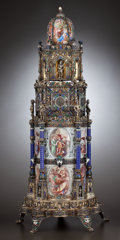 Silver Holloware, Continental:Holloware, A VIENNESE SILVER GILT, ENAMEL AND JEWELED TOWER CLOCK . Attributedto Hermann Böhm, Vienna, Austria, circa 1867-1874. Unma...
