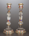 Silver Holloware, Continental:Holloware, A PAIR OF VIENNESE SILVER GILT, ENAMEL AND ROCK CRYSTAL CANDLESTICKS . Unknown maker, probably Vienna, Austria, circa 1870-...(Total: 2 Items)