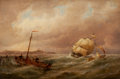 Fine Art - Painting, European:Antique  (Pre 1900), PROPERTY OF A LADY. PIETER CORNELIS DOMMERSEN (Dutch, 1834-1908).Shipping in the Harbor. Oil on canvas. 16 x 24 inche...