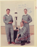 "Autographs:Celebrities, Apollo 7 Signed Color Crew Photograph, 8"" x 10"", ""Thanks, Joe,for/ keeping us in shape-/ Donn/Eisele"" And ""Walt Cunni...(Total: 1 Item)"