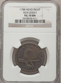 Colonials, 1788 COPPER New Jersey Copper, Head Right VG10 NGC. M. 65-u, R.4.NGC Census: (1/7). PCGS Population (1/49). (#521). Pu...