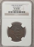 Colonials, 1788 COPPER New Jersey Copper, Head Right VF20 NGC. M. 67-v, R.1.NGC Census: (1/6). PCGS Population (5/40). (#521). Pu...