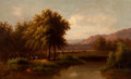 Fine Art - Painting, European:Antique  (Pre 1900), G. LAMBERT (Continental, 19th Century). Pastoral Landscape,1888. Oil on board. 22 x 36 inches (55.9 x 91.4 cm). Signed ...