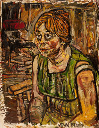 JOHN RANDALL BRATBY (British, 1928-1992) Portrait of a Woman Oil on canvas 35-3/4 x 28 inches (9