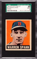 Baseball Cards:Singles (1940-1949), 1948-49 Leaf Warren Spahn #32 SGC 88 NM/MT 8....