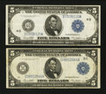 Fr. 855b and 859c $5 1914 Federal Reserve Notes