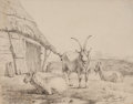 Fine Art - Work on Paper:Drawing, PIERRE-FRANÇOIS DE NOTER (Belgian, 1779-1843). Animals in aPasture, 1825. Pencil on paper . 6-1/4 x 7-3/4 inches (15.9 ...