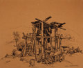 Fine Art - Work on Paper:Drawing, CARL FREDERICK GAERTNER (American, 1898-1952). HogButchering. Black lithographic crayon on brown paper . 19-1/2 x23 in...