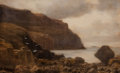 Fine Art - Painting, European:Modern  (1900 1949)  , ARTHUR NETHERWOOD (British, 1860-1930) and CONTINENTAL SCHOOL (19th Century). Hillside Seascape and Two Gentlemen in a... (Total: 2 Items)