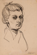 Fine Art - Work on Paper:Drawing, MAX LIEBERMANN (German, 1847-1935). Portrait Study of aWoman . Charcoal on paper . Window: 17-1/4 x 11-1/2 inches(43.8...