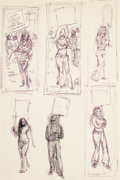 Fine Art - Work on Paper:Drawing, CLYDE J. SINGER (American, 1908-1999). Two Sheets of MultipleFigure Sketches (Study of a Woman on Strike against Ohio Bel...(Total: 2 Items)