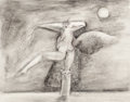 Fine Art - Work on Paper:Drawing, MARY SPAIN COLIE (American, 1934-1983). Surreal Bird Woman.Graphite, ink wash, sgraffito and pen on prepared paper . 16...