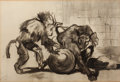 Fine Art - Work on Paper:Drawing, IMRE KÁROLY SIMAY (Hungarian, 1874-1955). Playing Monkeys,1899. Charcoal on paper . 12-3/4 x 19 inches (32.4 x 48.3 cm)...