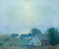 BRUCE CRANE (American, 1857-1937) Peace at Night Oil on canvas 14 x 17 inches (35.6 x 43.2 cm)<