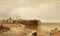Fine Art - Painting, European:Antique  (Pre 1900), JAMES BAKER PYNE (British, 1800-1870). Coastal Scene with Fisherfolk. Oil on canvas. 12 x 20 inches (30.5 x 50.8 cm). Si...