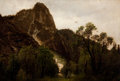 Fine Art - Painting, American:Antique  (Pre 1900), HERMANN HERZOG (American, 1832-1932). View of Sentinel Rock, Yosemite. Oil on silk-backed artist's board. 14 x 20-1/4 in...