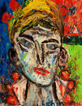 Fine Art - Painting, European:Contemporary   (1950 to present)  , LEHMANN (American, 20th Century). Head of a Woman. Oil on canvas. 17-1/2 x 13-1/4 inches (44.5 x 33.7 cm). Signed lower ...