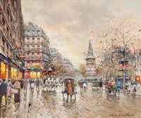 ANTOINE BLANCHARD (French, 1910-1988) Fall Cityscape Oil on canvas 18-1/4 x 21 inches (46.4 x 53