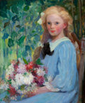 Fine Art - Painting, American:Modern  (1900 1949)  , PAULINE PALMER (American, 1867-1938). Girl with Flowers,circa 1905. Oil on canvas. 24-1/4 x 20-1/4 inches (61.6 x 51.4 ...