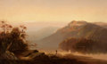 American:Hudson River School, CHARLES H. CHAPIN (American, 1830-1889). Sunset on theHudson. Oil on canvas. 22 x 36 inches (55.9 x 91.4 cm). ...
