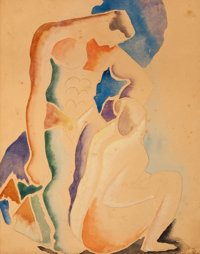 THOMAS HART BENTON (American, 1889-1975) Two Bathers, circa 1919-21 Watercolor and pencil on paper <
