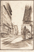 Fine Art - Work on Paper:Print, ALEXANDER STERN (American, 1904-1994). Post Street, San Francisco, 1939. Etching on paper. 11 x 7-1/4 inches (27.9 x 18....