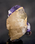 Minerals:Crystals, CALCITE ON FLUORITE. ...