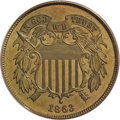 Patterns, 1863 2C Two Cents, Judd-316, Pollock-381, High R.6, PR64 Red andBrown PCGS....