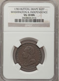 Colonials: , 1783 1C Washington & Independence Cent, Draped Bust, ButtonVG10 NGC. Baker-5. NGC Census: (1/7). PCGS Population (1/25). ...