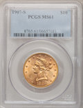 Liberty Eagles: , 1907-S $10 MS61 PCGS. PCGS Population (22/76). NGC Census:(69/126). Mintage: 210,500. Numismedia Wsl. Price for problem fr...