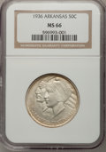Commemorative Silver: , 1936 50C Arkansas MS66 NGC. NGC Census: (54/7). PCGS Population(84/7). Mintage: 9,660. Numismedia Wsl. Price for problem f...