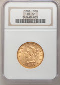Liberty Eagles: , 1883 $10 MS62 NGC. NGC Census: (412/98). PCGS Population (265/70).Mintage: 208,740. Numismedia Wsl. Price for problem free...