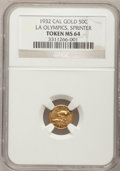 California Gold Charms, 1932 1/2 California Gold, LA Olympics, Sprinter, Bear MS64 NGC....