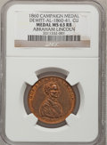 U.S. Presidents & Statesmen, 1860 Abraham Lincoln Campaign Medal, MS63 Red and Brown NGC.Copper, DeWitt-AL-1860-41....
