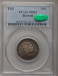 Coins of Hawaii: , 1883 25C Hawaii Quarter MS63 PCGS. CAC. PCGS Population (268/579).NGC Census: (153/428). Mintage: 500,000. (#10987)...