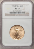Modern Bullion Coins: , 1996 G$25 Half-Ounce Gold Eagle MS67 NGC. NGC Census: (45/2055).PCGS Population (48/1197). Mintage: 39,287. Numismedia Wsl...
