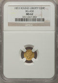 California Fractional Gold: , 1853 50C Liberty Round 50 Cents, BG-430, R.3, MS62 NGC. NGC Census:(12/9). PCGS Population (58/66). (#10466)...