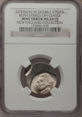 Undated 5C Jefferson Nickel--Double Struck Both Strikes Off Center--MS64 Full Steps NGC. From The New England Collection...
