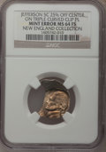 Undated 5C Jefferson Nickel--25% Off Center On Triple Curved Clip Planchet--MS64 Full Steps NGC. From The New England Co...