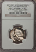 Errors, Undated 5C Jefferson Nickel--Double Struck With Obverse Brockage--MS65 Full Steps NGC.. From The New England Collection o...