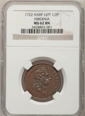 Colonials, 1722 1/2P Hibernia Halfpenny, Type One, Harp Left MS62 Brown NGC.Martin 4.3-Bc.1, W-12730, R.4....