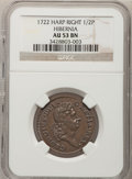 Colonials, 1722 1/2P Hibernia Halfpenny, Type Two, Harp Right AU53 NGC. Martin5.2-C.2, W-12810, R.5. ...