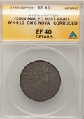 Colonials, 1788 COPPER Connecticut Copper, Mailed Bust Right--Struck on a NovaConstellatio, Corroded--ANACS. XF40 Details. M. 3-B.2, W-...