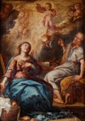 Paintings, After GUIDO RENI (Italian, 1575-1642). Annunciation. Oil on canvas. 12 x 8-3/4 inches (30.5 x 22.2 cm). ...